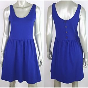 J Crew Blue Button Back Sun Dress Medium